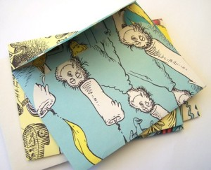 envelopes made from a recycled dr suess book