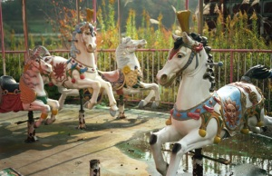 photo of old carousel horses