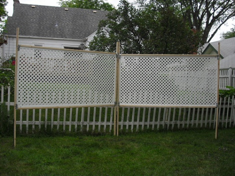 photo of unpainted trellis and no flowers