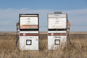 photo of abandoned gas pumps