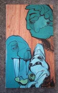 handpainted illustration on recycled wood
