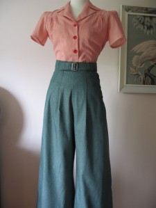 photo of wide leg denim trousers