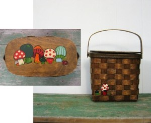 vintage basket purse with painted mushrooms