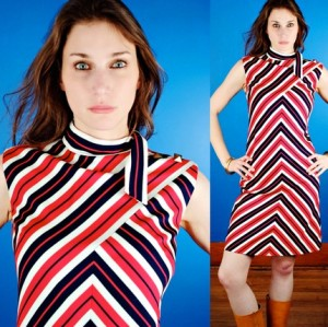 mod red white and blue striped dress