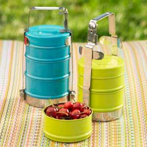 stacked enamel lunch boxes